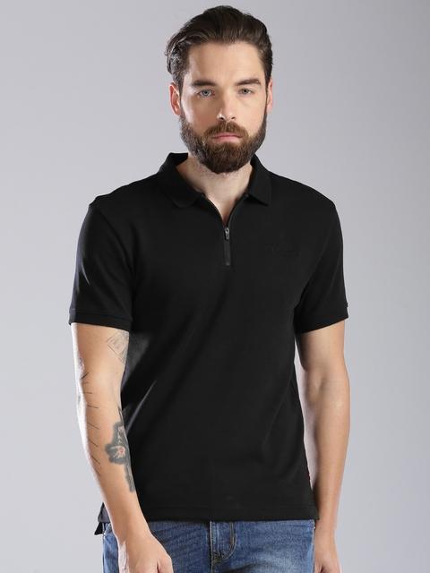 Levis Men Black Solid Polo Collar T-shirt