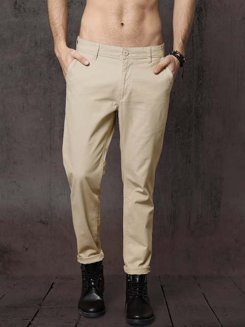 Roadster Men Beige Solid Slim Fit Trousers