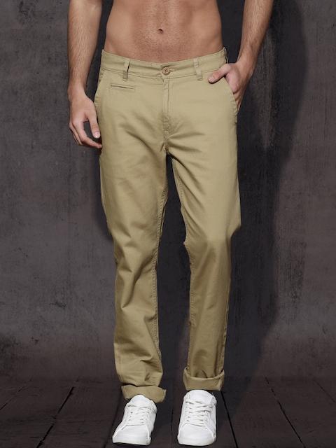 Roadster Men Beige Regular Fit Solid Trousers