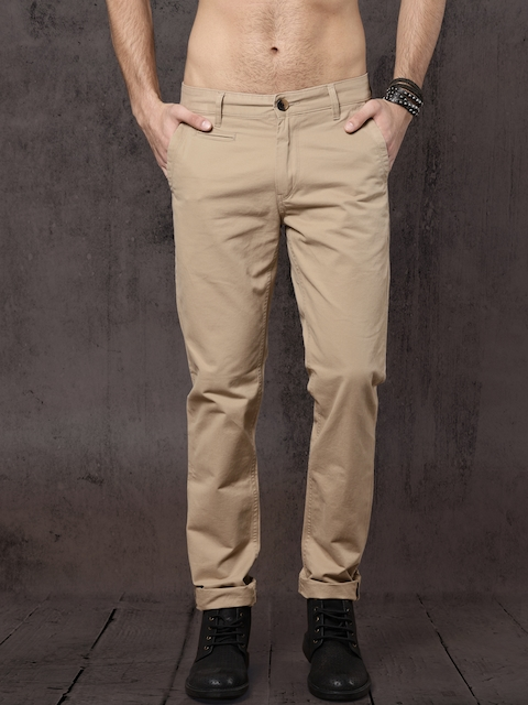 Roadster Men Beige Slim Fit Solid Chinos