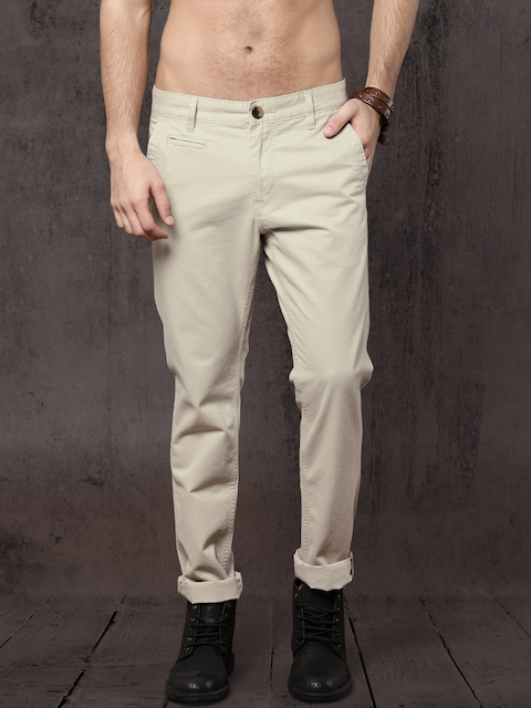 Roadster Men Beige Regular Fit Solid Chinos