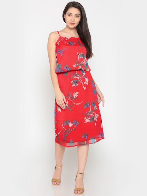 Pepe Jeans Women Red Printed A-Line Dress