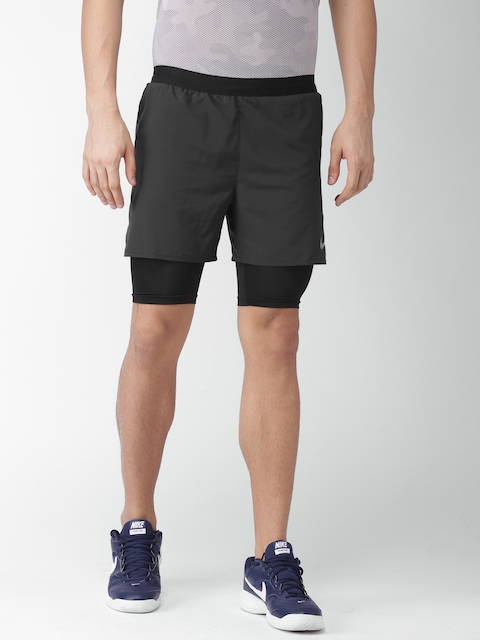 Nike Men Black Solid Regular Fit AS M NK DSTNCE 2IN1 Sports Shorts