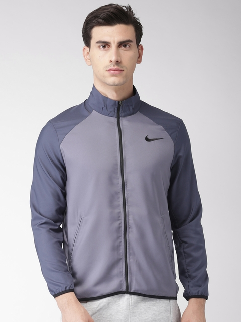 Nike Men Grey Solid Sporty AS M NK DRY JKT TEAM WOVEN Jacket