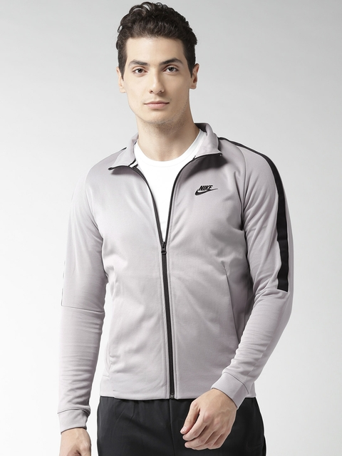Nike Men Grey AS NSW N98 PK Tribute Solid Sporty Jacket