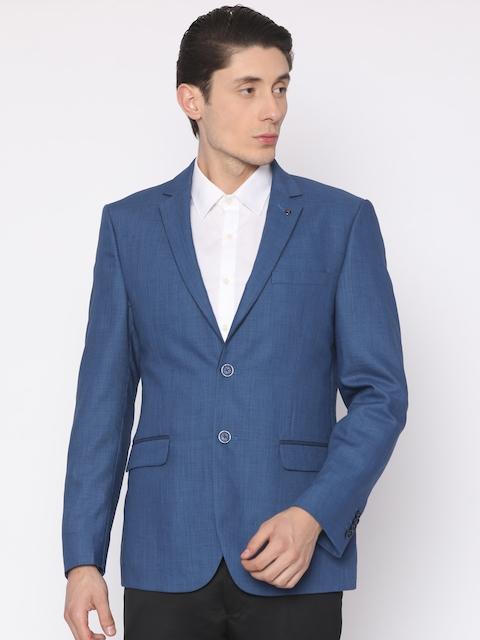 Van Heusen Blue Self Design Slim Fit Single-Breasted Formal Blazer