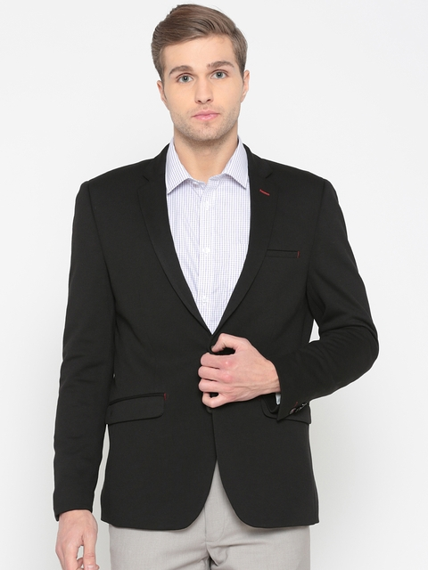 Van Heusen Black Solid Ultra Slim Fit Single-Breasted Formal Blazer