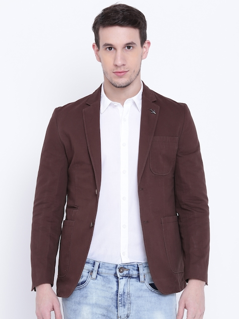 Van Heusen Sport Brown Slim Fit Single-Breasted Casual Blazer