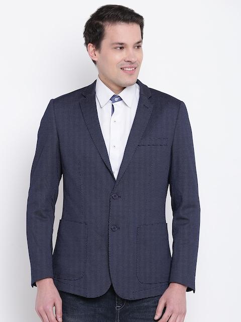 Van Heusen Sport Navy Blue Self-Design Slim Fit Single-Breasted Blazer