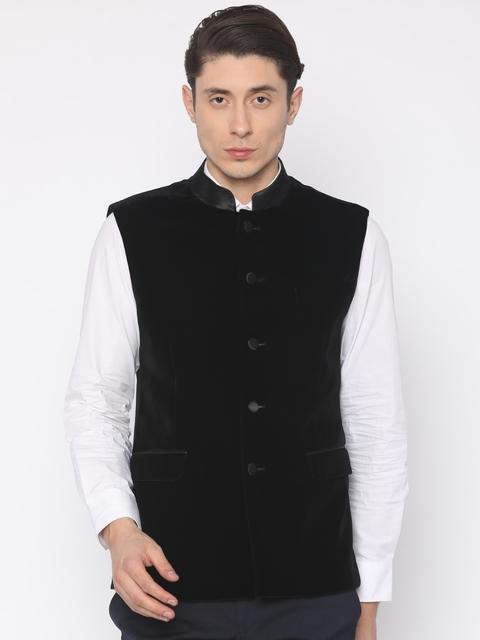 Van Heusen Black Slim Fit Nehru Jacket