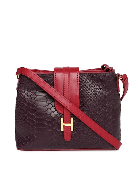 Hidesign Burgundy & Red Textured Sling Bag