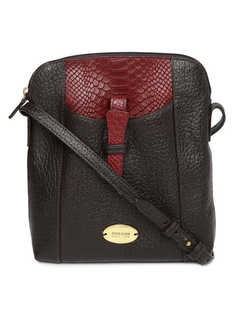 Hidesign Brown & Red Textured Leather Sling Bag