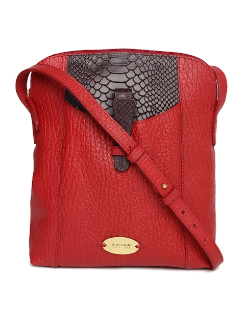 Hidesign Red & Purple Colourblocked Sling Bag