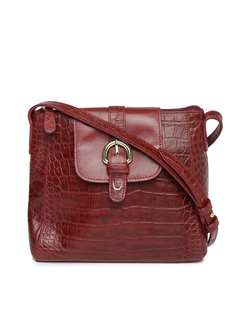 Hidesign Maroon Textured Leather Sling Bag