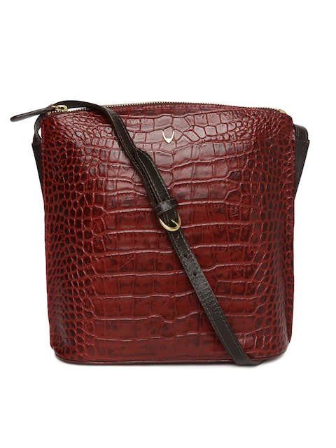 Hidesign Maroon Textured Sling Bag