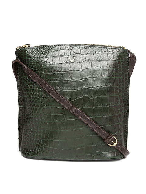 Hidesign Green Textured Leather Sling Bag