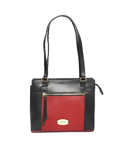Hidesign Black & Red Textured Shoulder Bag
