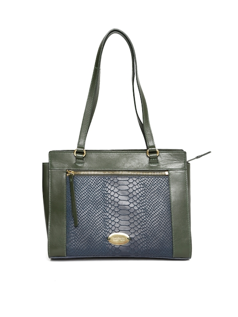 Hidesign Green & Navy Blue Textured Shoulder Bag