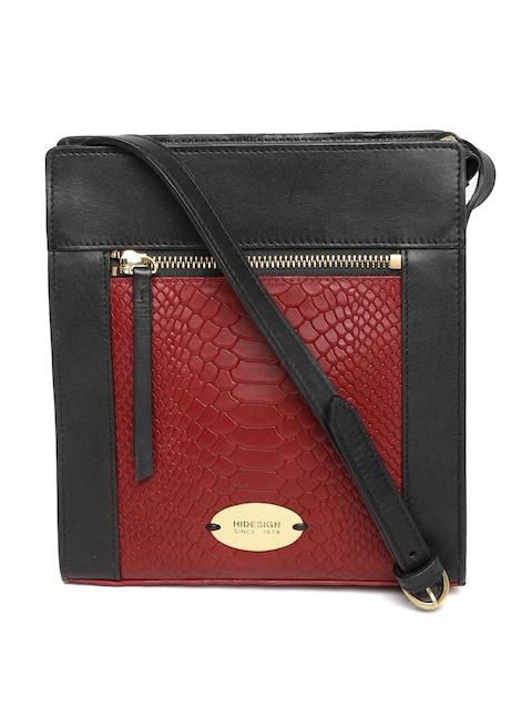 Hidesign Black & Red Colourblocked Leather Sling Bag