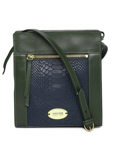 Hidesign Green & Navy Blue Colourblocked Leather Sling Bag