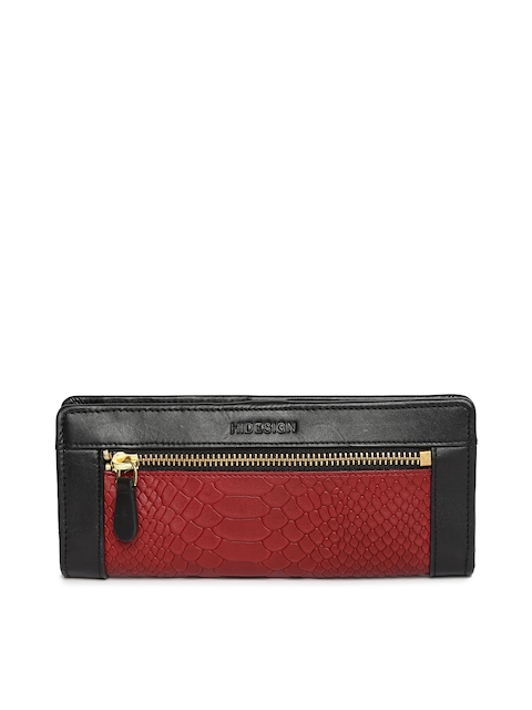 Hidesign Women Black & Red Textured Leather Two Fold Wallet