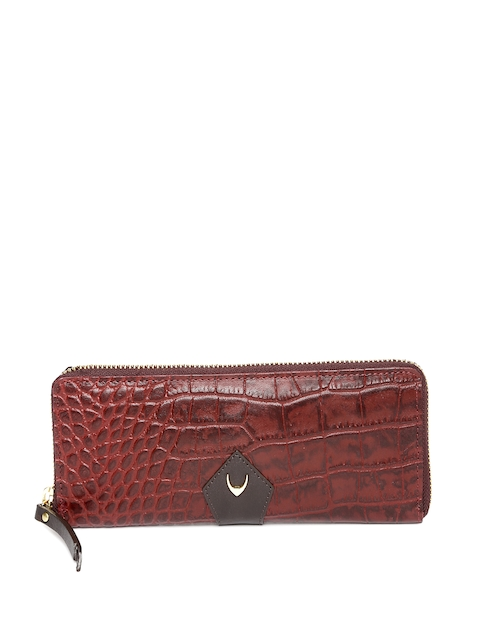 Hidesign Women Maroon Textured Leather Zip Around Wallet