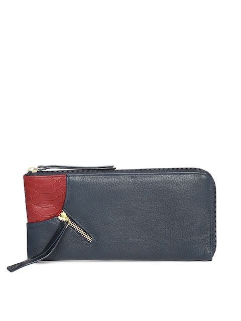 Hidesign Women Navy Leather Zip Around Wallet