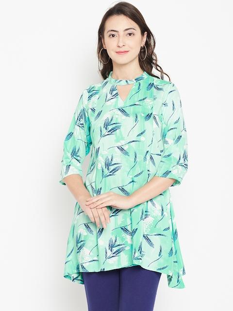 Shree Sea Green & Navy Blue Printed Tunic