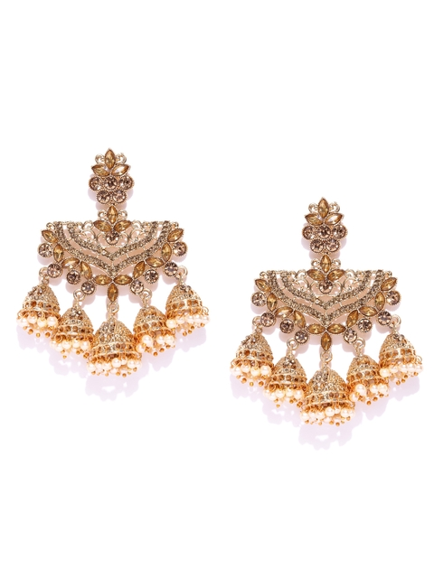 Zaveri Pearls Gold-Plated Beaded Stone-Studded Drop Earrings