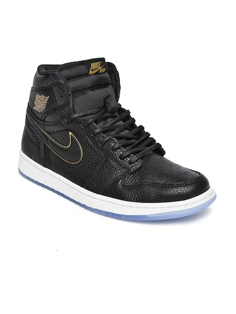 Nike Men Black Leather High-Top AIR JORDAN 1 RETRO Basketball Shoes