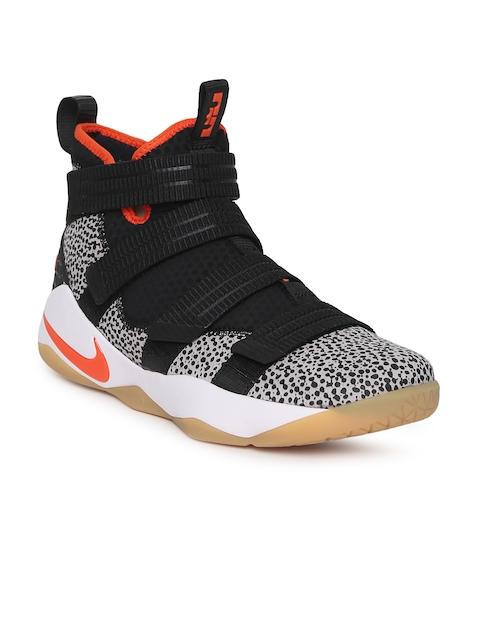 9cf0e141787 Nike Men Black Leather Mid-Top LEBRON SOLDIER XI SFG Basketball Shoes