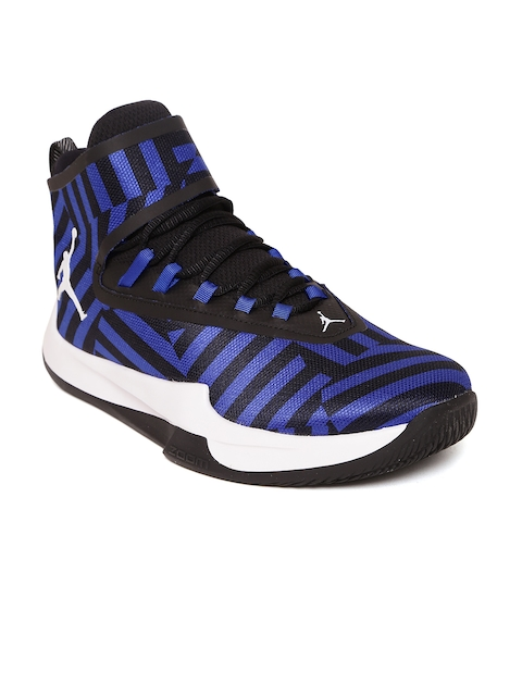 Nike Men Black & Blue Jordan Fly Unlimited Textile Mid-Top Basketball Shoes