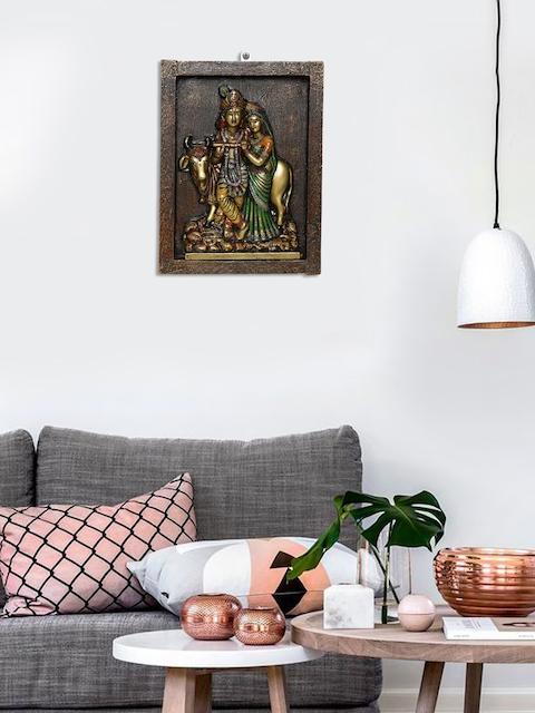 Unravel India Brown & Multi Wooden Radha Krishna Wall Painting