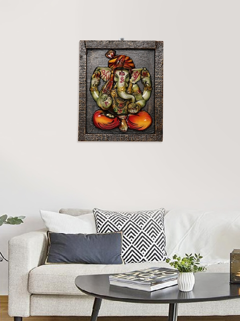 Unravel India Brown & Multi Wooden Ganesha Wall Painting