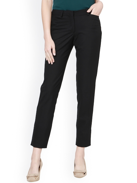 Allen Solly Woman Black Regular Fit Solid Chinos