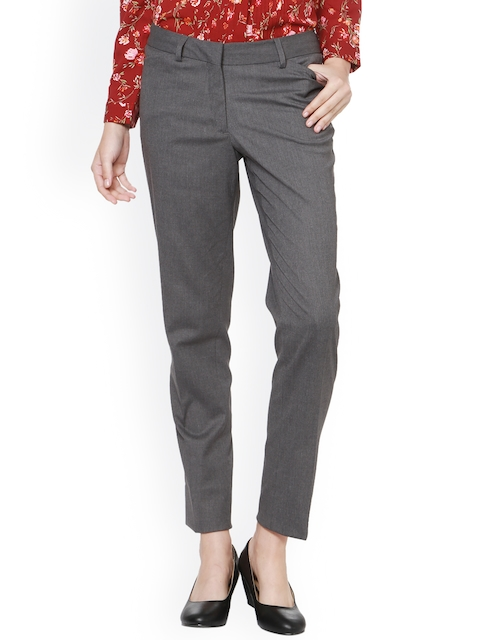 Allen Solly Woman Grey Regular Fit Solid Formal Trousers
