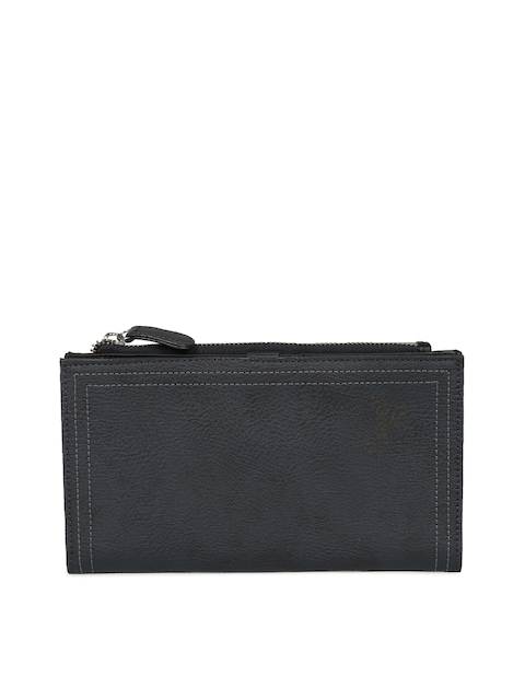 Baggit Women Navy Blue Solid Two Fold Wallet