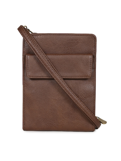 Baggit Men Brown Solid Two Fold Wallet with Sling Strap