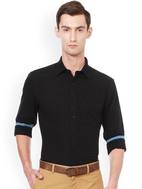 Allen Solly Men Black Slim Fit Self-Design Semiformal Shirt