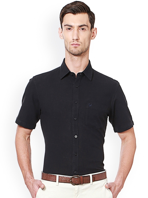 Allen Solly Men Black Slim Fit Solid Semiformal Shirt