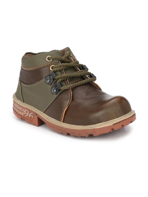 TRILOKANI Boys Olive Green Flat Boots