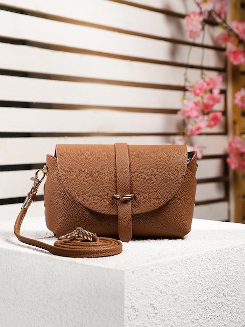 DressBerry Brown Textured Sling Bag
