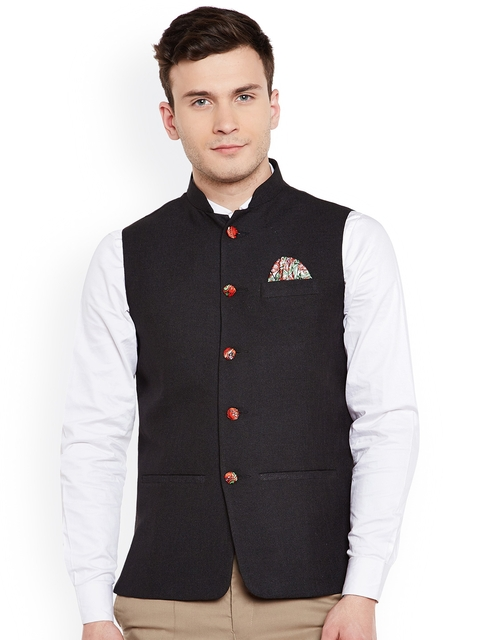Wintage Men Black Nehru Jacket