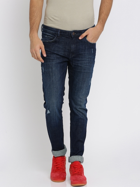 Arrow Blue Jean Co. Men Blue Skinny Fit Mid-Rise Mildly Distressed Stretchable Jeans