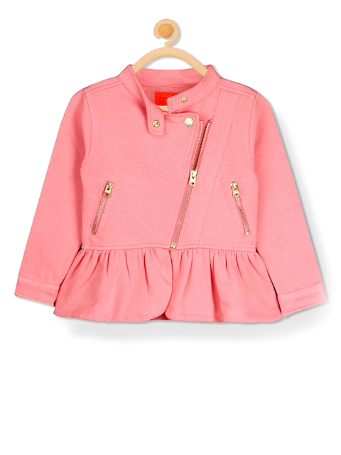 Cherry Crumble Girls Pink Solid Bomber Jacket