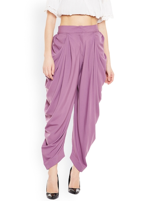 Bitterlime Purple Solid Dhoti Pants
