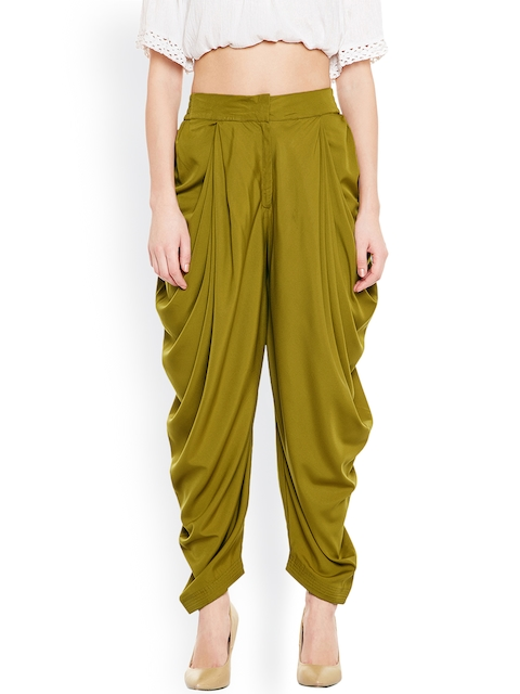 Bitterlime Olive Green Solid Dhoti Pants