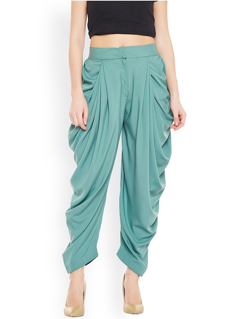 Bitterlime Teal Blue Solid Dhoti Pants