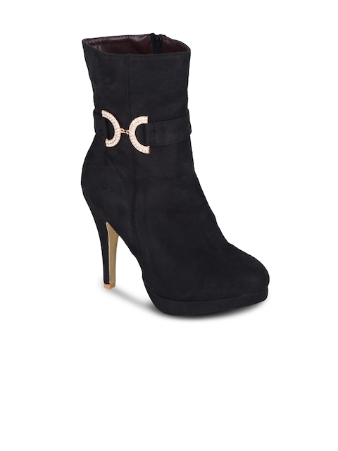 SHUZ TOUCH Women Black Solid Heeled Boots