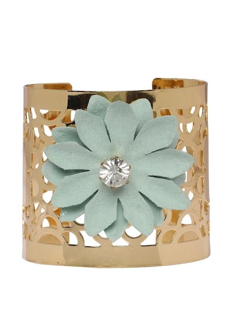 Shining Diva Green & Gold Colored Metal Cuff Bracelet